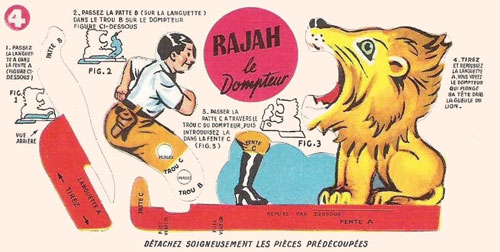 Bon-point-leonard-lille-rajah-le-dompteur-pliage-cirque-1950-rocket-lulu