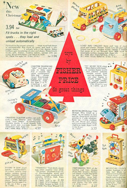 Pub-fisher-price-1965-jouet-tirer-vintage-rocket-lulu