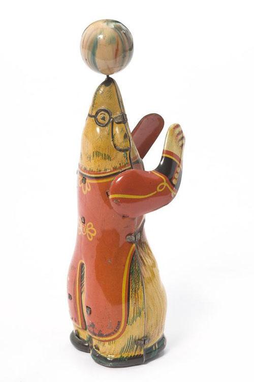 Jouet-ancien-ours-jonglant-jouet-mecanique-allemagne-50s-vintage-toy-arts-decoratifs