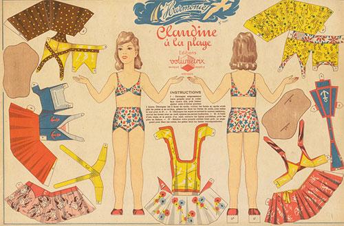 Volumetrix_claudine_a_la_plage_vintage_paper_doll_toy