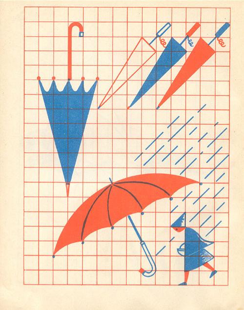 Enfant-vintage-kids-cahier-dessin-fernand-nathan-parapluie-umbrella