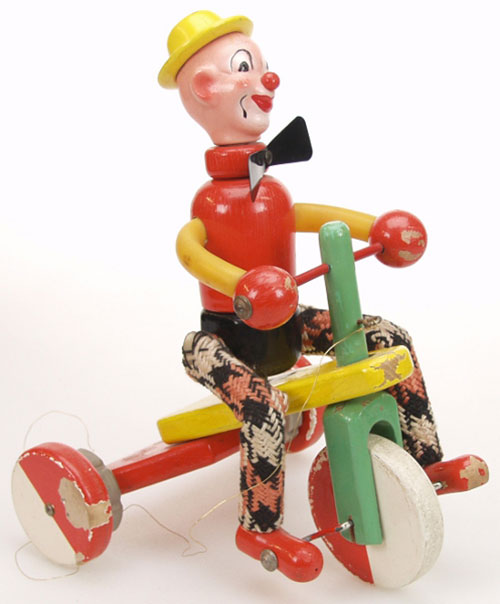 Ancien-jouet-tirer-vintage-kids-pull-toy-Clown-tricycle-EDUCALUX-annees-50