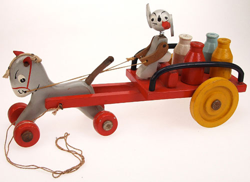 Ancien-jouet-tirer-vintage-kids-pull-toy-attelage-PIPO-1947