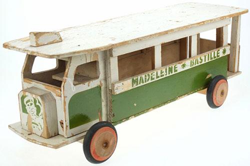 Ancien-jouet-vintage-kids-toy-bus-bois-JOUJOULAC-1950