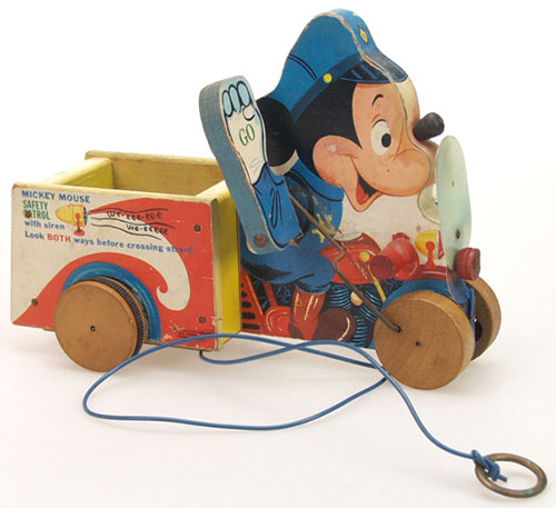 Ancien-jouet-vintage-kids-toy-Mickey-Mouse-Safety-Patrol-733-FISHER-PRICE-annees-50