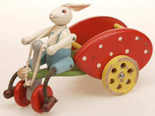 Ancien-jouet-tirer-vintage-kids-pull-toy-lapin-vélo-1950