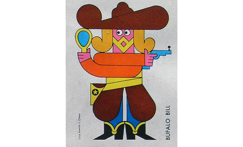 Cruz-novillo-Olmos-matchbox-cover-60s-vintage-graphic-cowboy-rocket-lulu