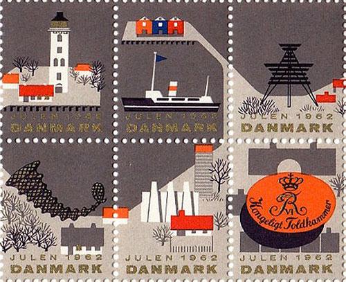 Timbre-noel-vintage-danish-christmas-stamps-1962-rocket-lulu1