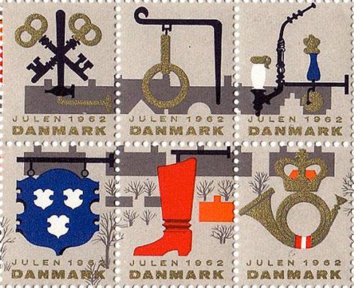 Timbre-noel-vintage-danish-christmas-stamps-1962-rocket-lulu4