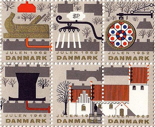 Timbre-noel-vintage-danish-christmas-stamps-1962-rocket-lulu3