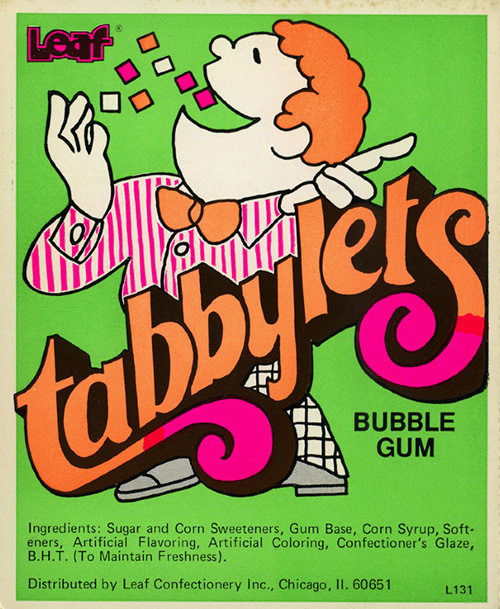 Ancien-packaging-leaf-bubble-gum-tabbylets-vintage-ad-1950-rocket-lulu