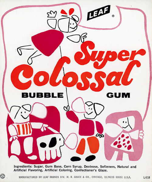 Ancien-packaging-leaf-bubble-gum-super-colossal-vintage-ad-1970-rocket-lulu