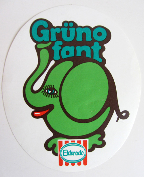 Autocollant-elefant-vintage-sticker-70s-eldorado-Grünofant-ice-cream-rocket-lulu