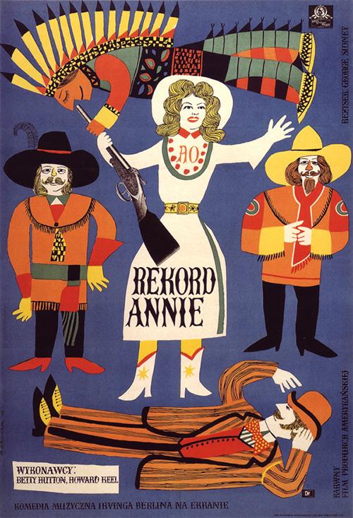 Affiche-cinema-annie-get-your-gun-vintage-polish-poster-1958-marian-stachurski -rocket-lulu